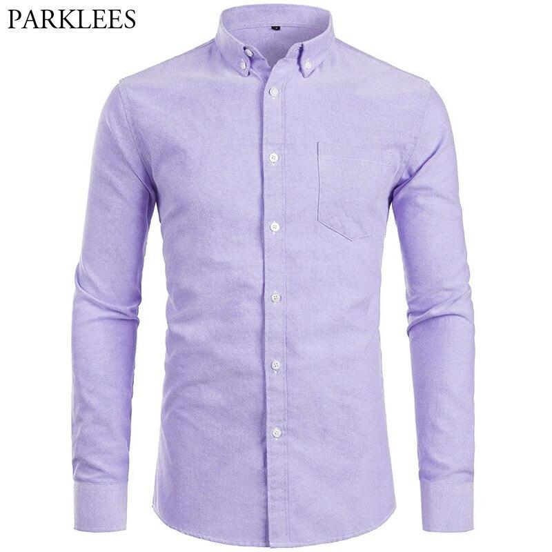 YUNY Men Basic Cotton Button Business Long-Sleeve Solid Slim Shirts Purple L