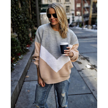 LOOZYKIT Autumn Winter Contrast Color Women Sweater Casual Long Sleeve Pullover Women O-Neck Knitted Top Women Jumper Femme Soft contrast ruffle neck and bell cuff jumper