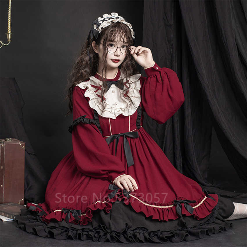 Lolita OP Dress Soft Sister Japanese Style Retro Bow Ruffle Long Sleeve Black Red Princess Tea Party Gown Women Cosplay Costume