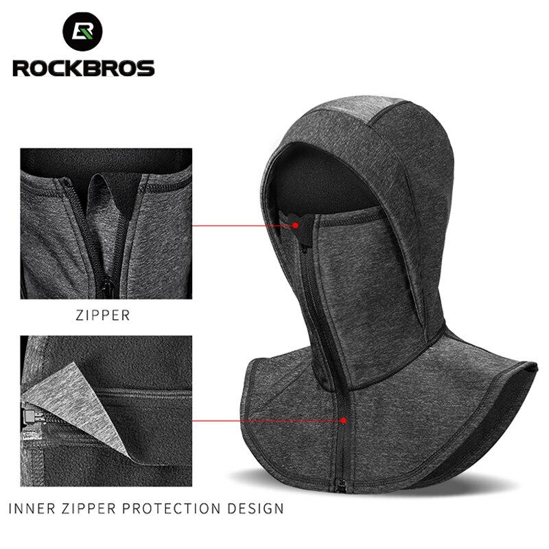 ROCKBROS Thermal Fleece Ski Headgear Windproof Skiing Bibs Snowboard Neck Warmer Face Mask Snow Sport Headwear Ski Hat Men Women