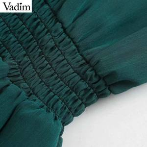 Image 3 - Vadim 女性シックなシフォングリーンミディドレス長袖弾性ウエスト女性のスタイリッシュなシックなソリッドドレス vestidos QD138