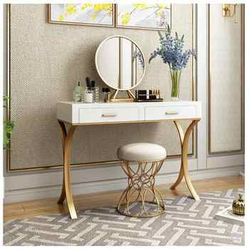 Small-sized Nordic minimalist modern bedroom dressing table ins wind wrought iron paint dressing table mini dressing table - DISCOUNT ITEM  26 OFF Furniture