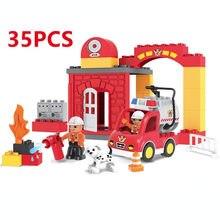 35 90PCS City Fire Department Fire รถบรรทุก Firemen Building Blocks ใช้งานร่วมกับ DuploINGlys ของเล่นสำหรับของขวัญเด็ก