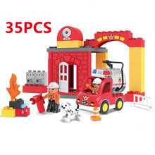 35 90PCS עיר אש מחלקת אש משאית כבאים אבני בניין תואם DuploINGlys צעצועים לילדים מתנות