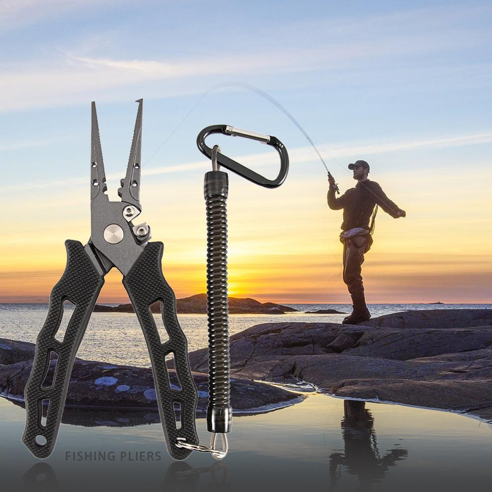 Fishing Pliers Black Stainless Steel Mix With Titanium Carbo Nitride Coating Hook Remover Braid Cutter Saltwater Split Ring ##