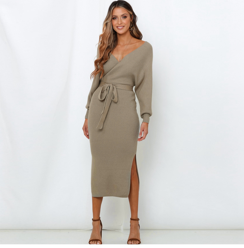 Long Sleeve V Neck With Cross Belt Sweater Knitted Dress 30