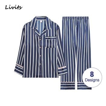 Men Pajamas Sets Satin  Pyjamas Nightwear Sleepwear Underwear Long Sleeve Striped Printed Casual Spring Autumn Winter SA0706