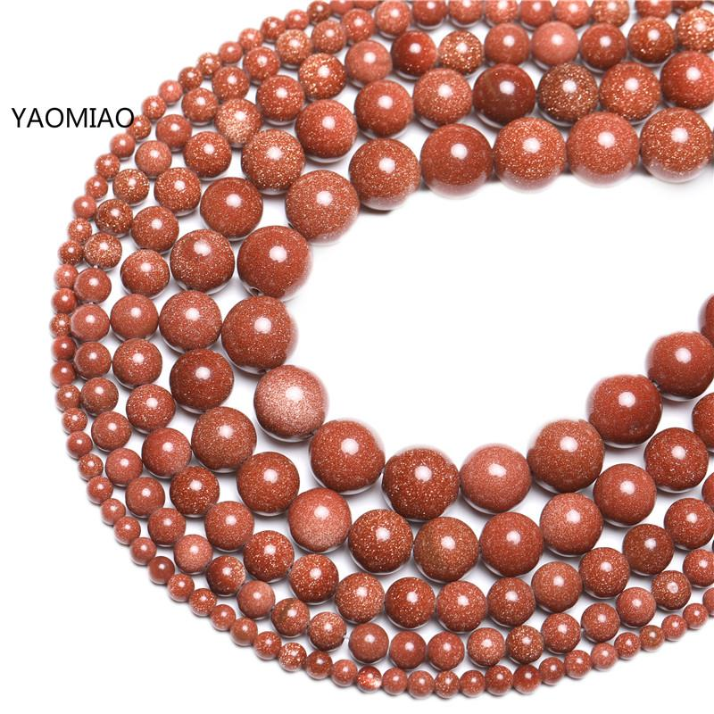 Natural Gold SandStone Round Loose Beads 16