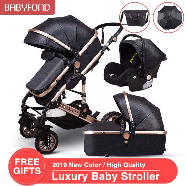 4 in 1 High landscape baby stroller can sit reclining folding with bags  baby stroller
