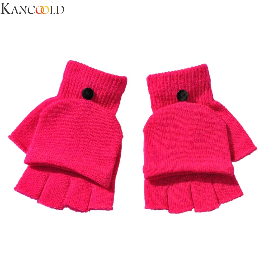 KANCOOLD Winter Adult Women Men Winter Hand Wrist Warmer Flip Cover Fingerless Gloves Finger Hand Protector New Fashion
