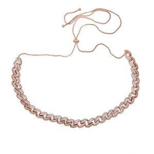 Image 5 - Collar de cadena con diamantes de circonia cúbica para hombres y mujeres, Gargantilla con diamantes de imitación, de zirconia cúbica Eslabón cubano, zirconia, circonita, zirconita, ajustable