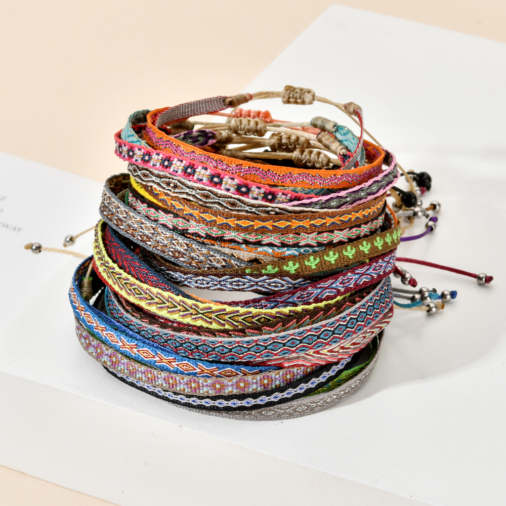 ZMZY Boho Colorful Woven Rope String Bracelet Yoga Handmade Chic Webbing Friendship Bracelets for Men Women Child Lucky Jewelry