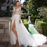 Long Sleeves A Line Wedding Dresses Deep V Neck High Slit Lace Appliques Vestido De Noiva Bridal Wedding Gown Mariage