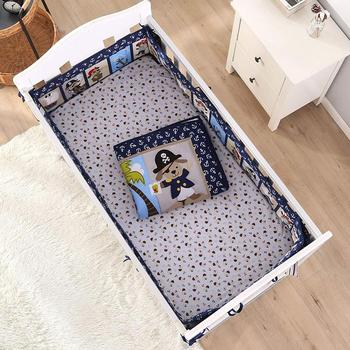 7PCS Cot Protector Toddler Infant baby bedding set ,cotton crib bedding set ,infant nursery (4bumper+duvet+bed cover+bed skirt)