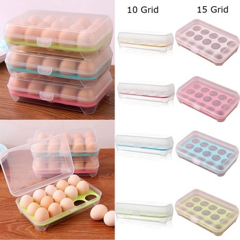 10/15grid Loozykit Plastic Egg Tray Holder Storage Box Container Organizer Bin With Lid For Kitchen Refrigerator Fridge#15#1 image