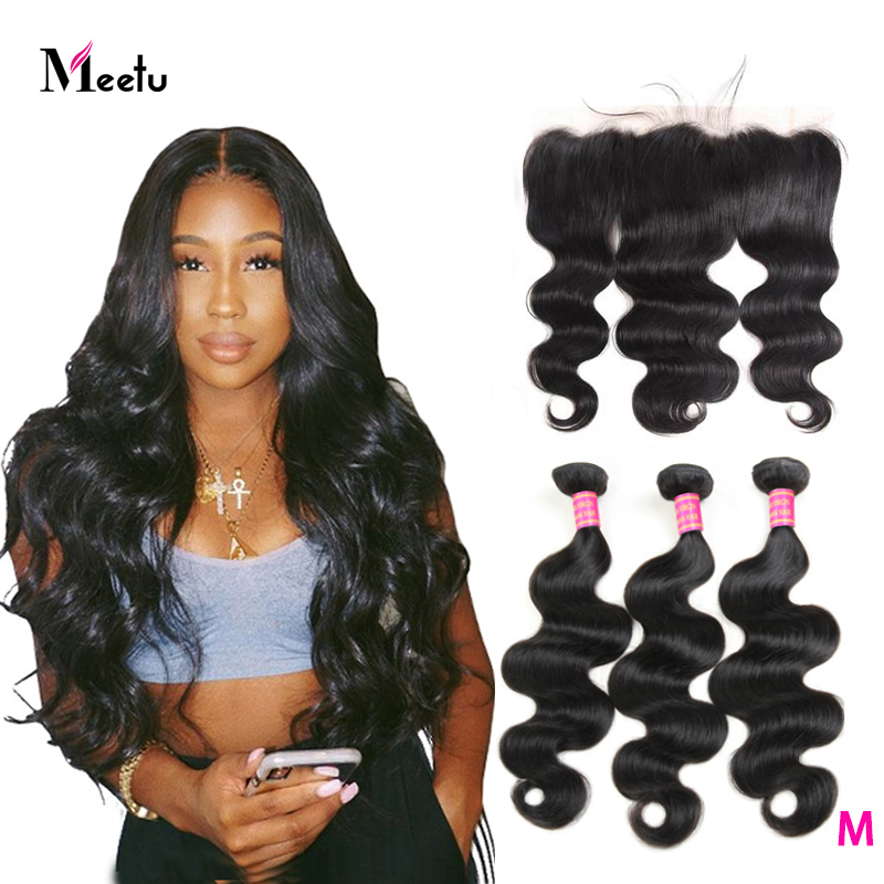 Meetu Indian Body Wave Bundles With Frontal  3 Bundles With Frontal 13x4 Inch Non Remy Human Hair Bundles With Frontal Closure
