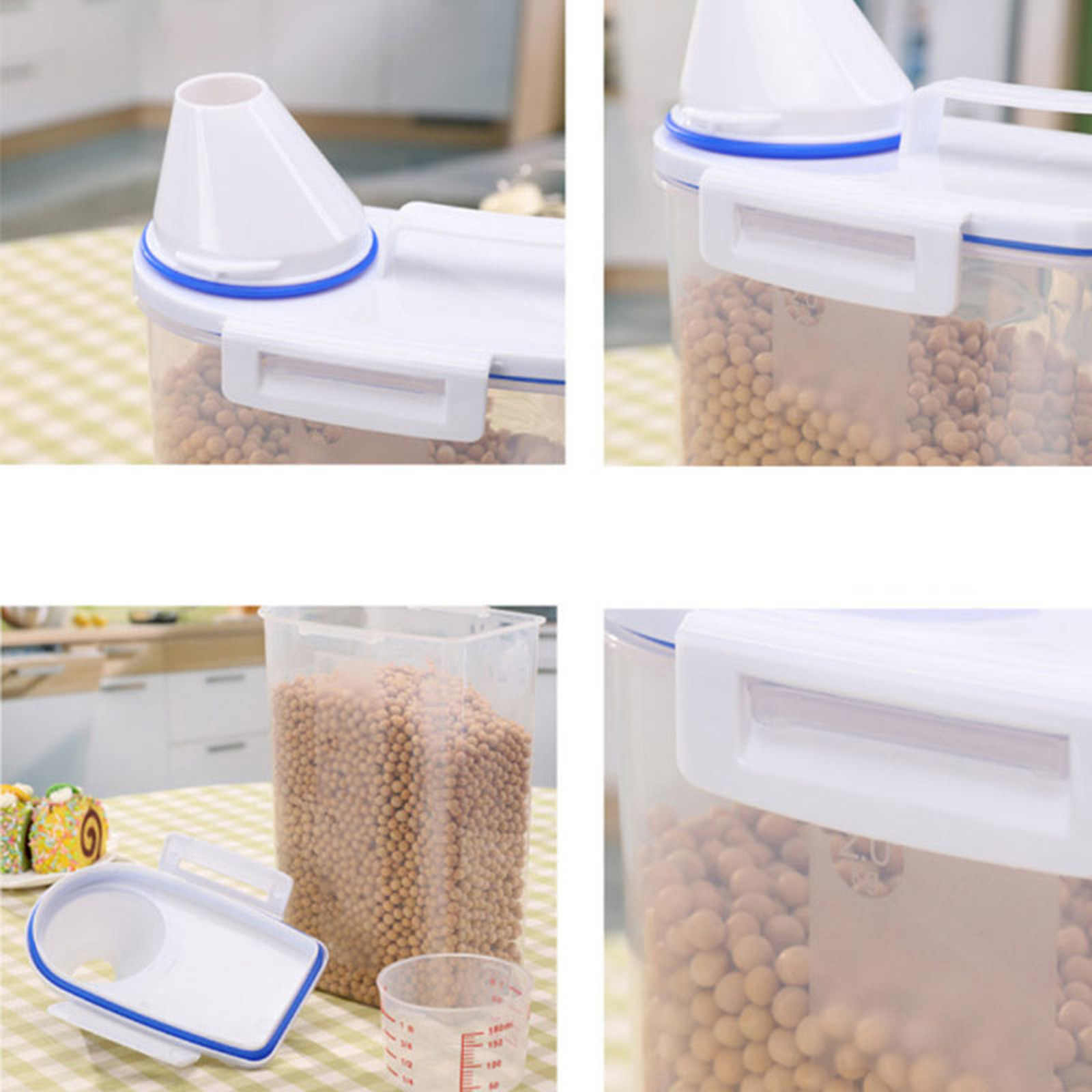 1PC 2L plastikowe cukier kawy makaron dyspenser płatków zbożowych schowek blokowanie jasne słoiki żywności brązowy ryż pojemnik garnki kuchenne 2kg
