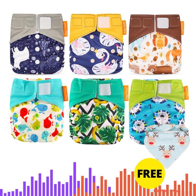 Happy Flute Wholesales Cloth Diaper  Heavy Wetter AI2 Cloth Diaper  Waterproof Resuable Baby Diaper .OS Diaper 6pcs Pack