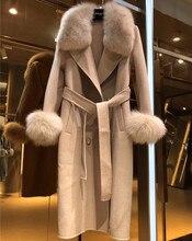معطف نسائي شتوي من الصوف 2020 من Femal ، ياقة من فرو الثعلب الحقيقي ، معطف من الصوف مزدوج الجوانب ، سترة واقية