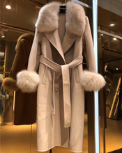 Femal Wool Coat 2020 Winter Coats Women Real Fox Fur Collar Double Sided Wool Coat Windbreaker