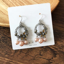 Vintage black silver color Hollow Round Earrings Baroque Imitation Pearls Non Pierced for Elegant Women