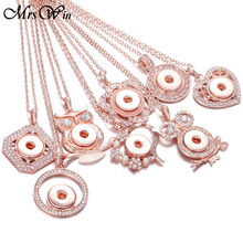New Snap Button Jewelry Necklaces Rose Gold Rhinestone Owl Flower Necklace Pendant 18mm Buttons