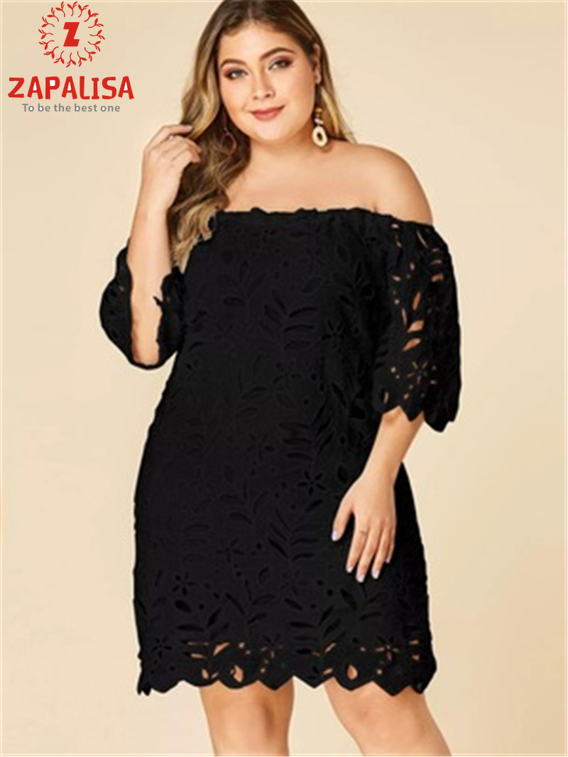 Zapalisa Plus Size Mini Sexy Lace Dress Solid Patchwork Elegant Off Shoulder Summer Dress Half Sleeve