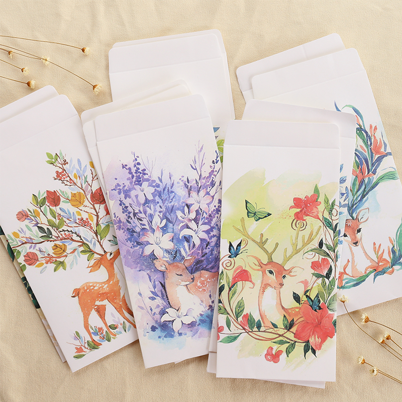 JIANWU 12pcs Lovely Deer Chinese Style 5 Paper Envelope Bag Card Postcard Envelope Bag Stationery