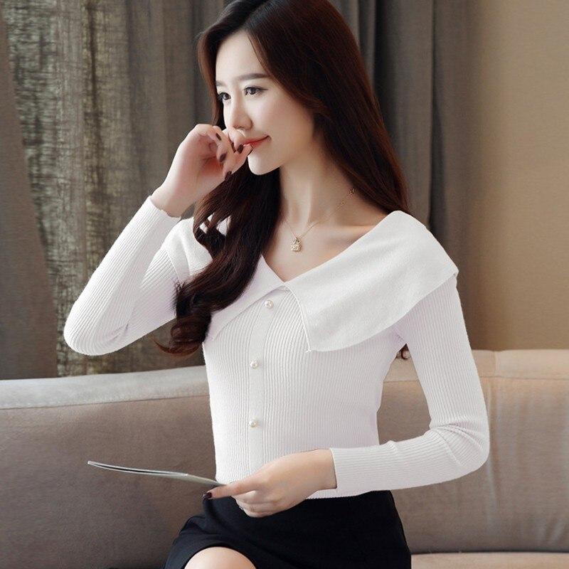 Women Autumn Winter Temperament Kintted Button Sweater  Long Sleeve Turn-down Collar Casual Sweater