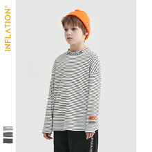 INFLATION 2019 Autumn Thin Loose Stripe Boy T-shirt Cotton Long Sleeve Stripe Embroidery T-shirt For Boys Girl Top Tees 19269A navy stripe pattern button design long sleeve t shirt