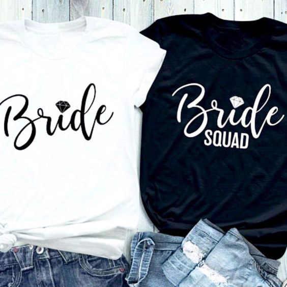 Cotone Tee Estetico Grafici Camicette Sposa Diamante T-Shirt Stampata Lettera di Diamante Della Sposa Squad Accoppiato Magliette e camicette Femminista Regalo