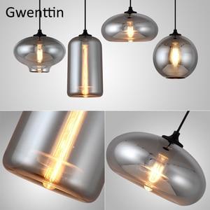 Image 5 - מודרני עשן אפור זכוכית תליון אורות סלון נורדי Led Hanglamp לופט תעשייתי תליית מנורת בית תפאורה Luminaire E27