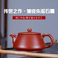Yixing Berühmte Dark rot Emaillierte Keramik Teekanne Rot Schlamm Mit Faltige Haut Berühmte Levin Starke Volle Manuelle Reise Tee set Waren-in Teekannen aus Heim und Garten bei