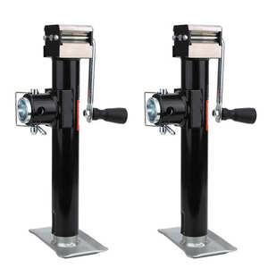 2Pcs 1000kg Load Bearing Trailer Jack Pipe Mount Side Wind Square Drop Leg Adjustable Height