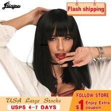 Ebingoo Cleopatra alta temperatura de fibra rubia negro marrón corta recta Bob sintético pelucas con flequillo para las mujeres