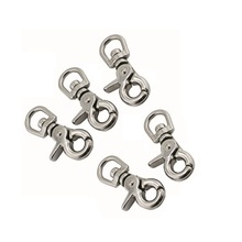 5PCS Stainless Steel 316 Swivel Spring Eye Snap Trigger Clip Hook 65mm Snap Hook