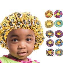 Новая детская большая шапочка для сна девочек Атласная с принтом