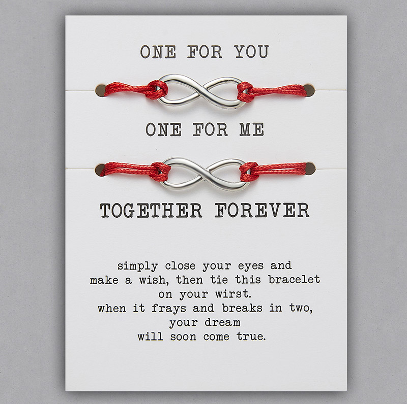 2 шт./компл. Сердце Звезда браслеты с крестообразной подвеской один для вас один для меня красная веревка плетение пара браслет для мужчин женщин карточка пожеланий - Окраска металла: BR18Y0710-2