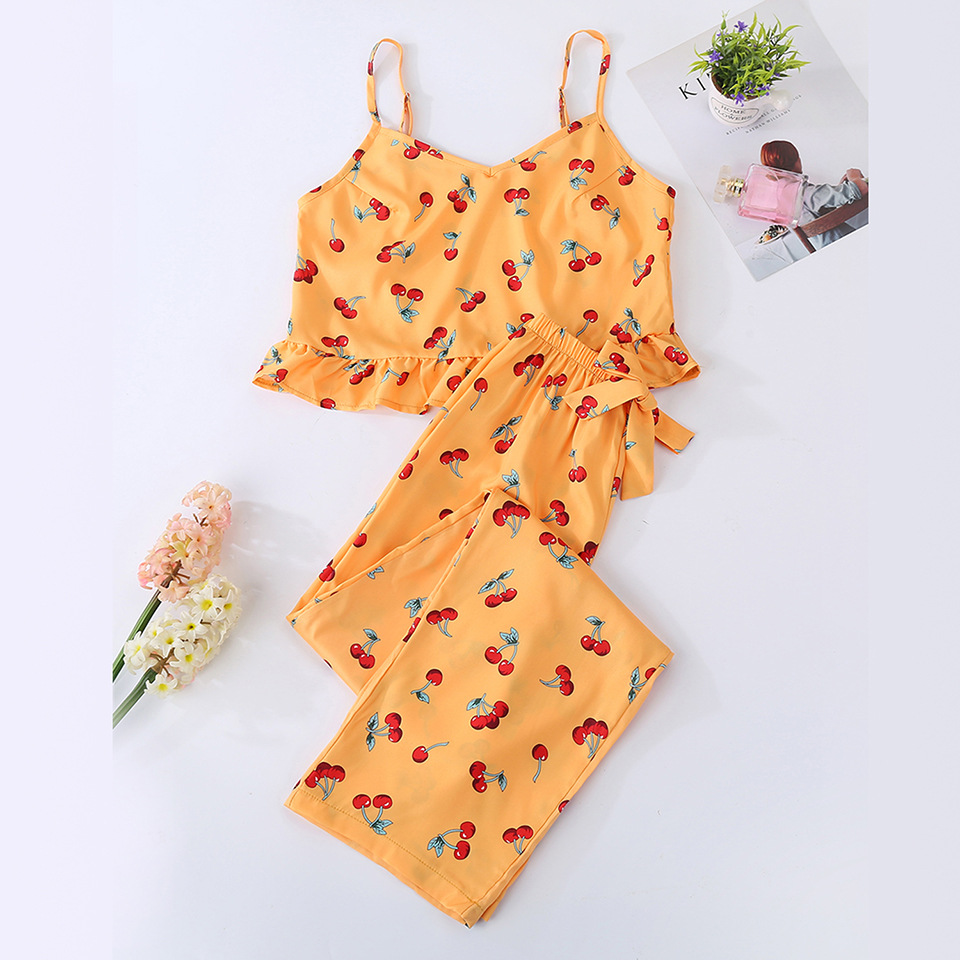 Cute womens pajamas sets orange color with sweet c