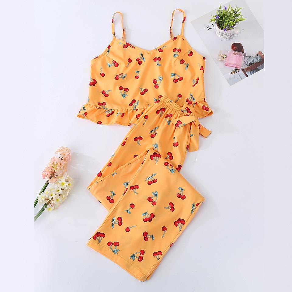 Cute Women's Pajamas Sets Orange Color With Sweet Cherry Printed Causal Pajama Sets Fashion Softy Pajamas For Ladies