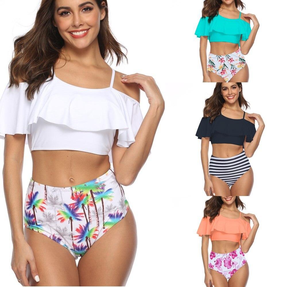 2019 Europe And America Foreign Trade Cross Border Lotus Leaf Printed Off-Shoulder WOMEN'S Bikini Amazon Hot Selling Swimwear