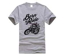 2019 New Spring High-Elastic Cotton New Funny Brand Clothing Live To Ride Born To Be Wild Biker Make Your Own Shirt(China)
