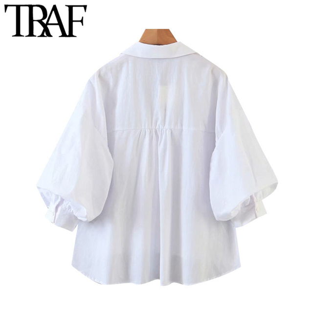 TRAF Women Fashion Button-up Loose Irregular Blouses Vintage Lantern Sleeve Side Vents Female Shirts Blusas Chic Tops 2