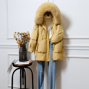 Women 2021 Down Jacket Winter New Hooded Fur Collar Mid-length Thick Waist Korean Version Loose Coat