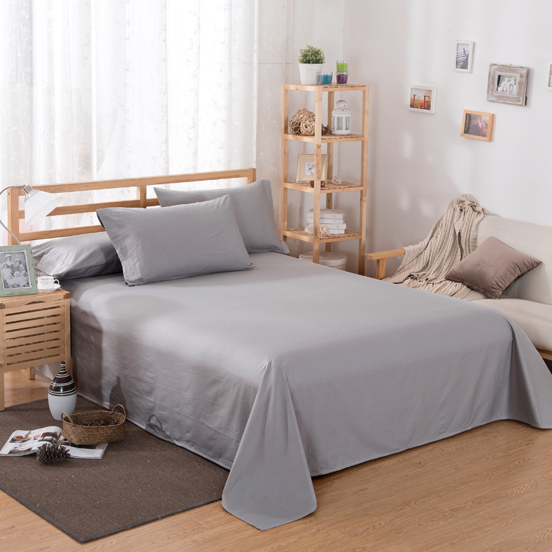 ropa de cama Solid color polyester cotton bed sheet hotel home soft brushed flat sheet queen bed cover not included pillowcase 8
