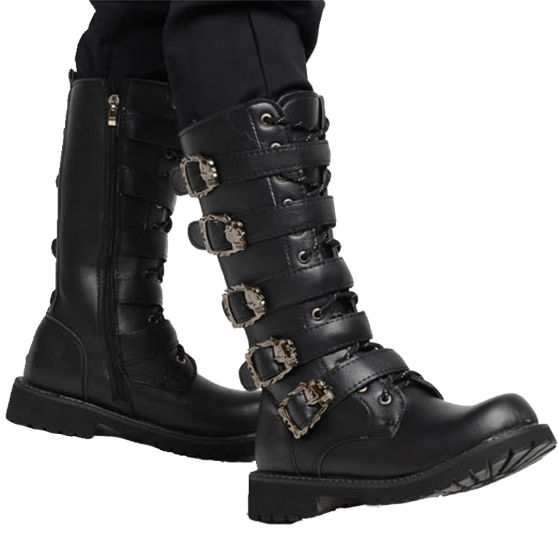 Men's Leather Motorcycle Boots Mid-calf Military Combat Boots Gothic Belt Punk Boot  Lace Up Ride Shoes Tactical Army Boots Rock