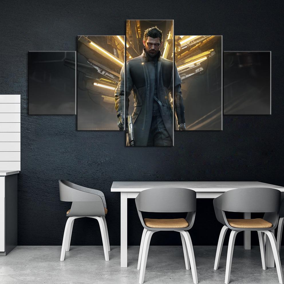 5 Piece Decorative Painting Poster Game Home Mural Deus Ex  Mankind Divided Game Animation Art Wall Decor Paintings|Рисование и каллиграфия|   | АлиЭкспресс