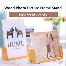 6 Inch Wooden Acrylic Slant Sign Holder Plastic Table Menu Display Stand Paper Ad Picture Photo Frame For Restaurants,Hotels