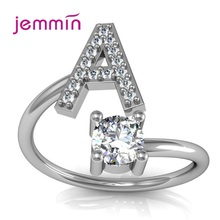 Brands Adjustable 925 Sterling Silver Engagement Rings For Women Exquisite Rhinestones 26 Letters Cubic Zirconia Jewelry