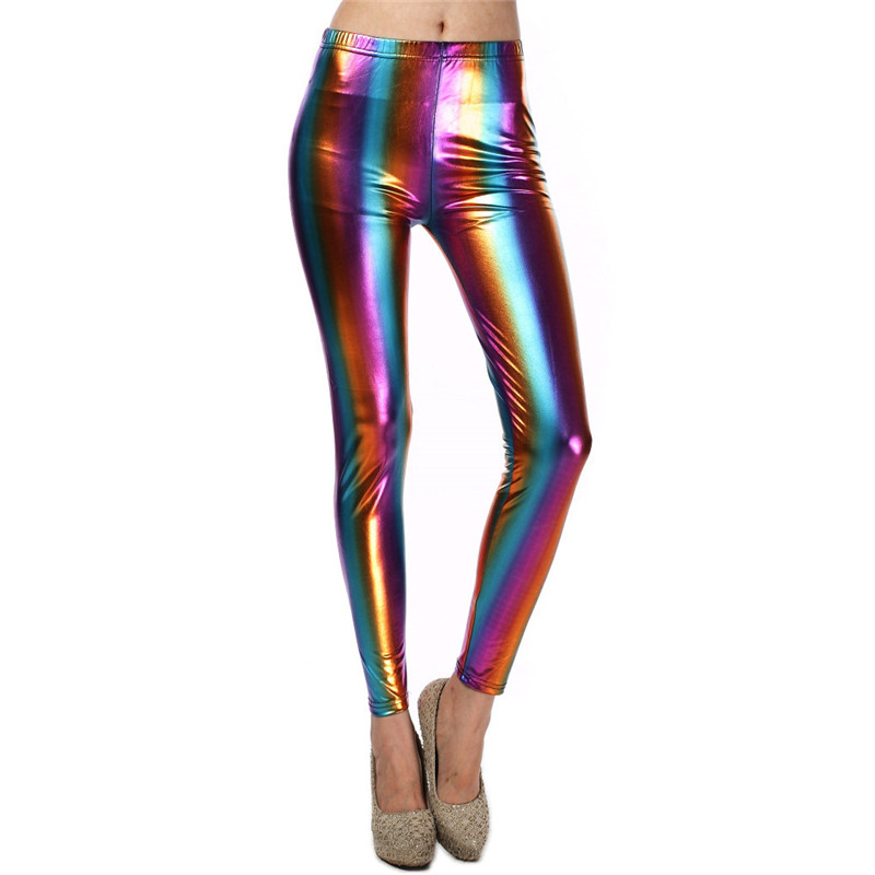 Rainbow Color Wet Look Patent Leather Pants Shiny Holographic Elastic Skinny Long Pants Sexy Women Trousers Streetwear 2019 New